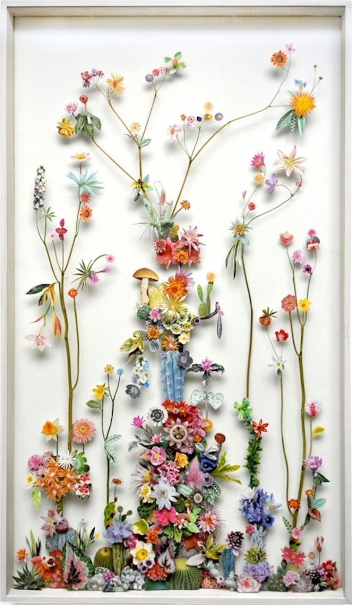 flower sculptures from recycled materials - inspiration only, these are really interesting - magazine papers, images, dried flowers and leaves, recycled materials form these sculptures (repin) #flowers