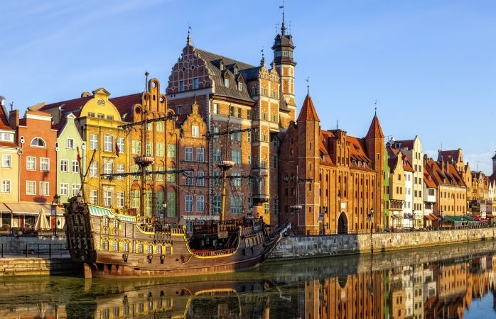 Les rives de la Vieille ville de Gdansk, Pologne.