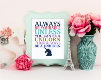 Inspirational Wall Art Be A Unicorn Pastel Nursery Girly