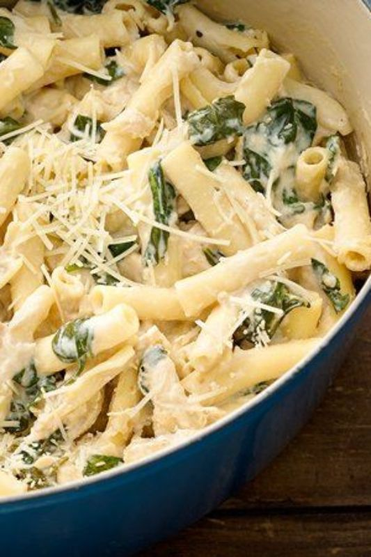 Grown-up mac and cheese with baby spinach, artichokes and Parmesan!