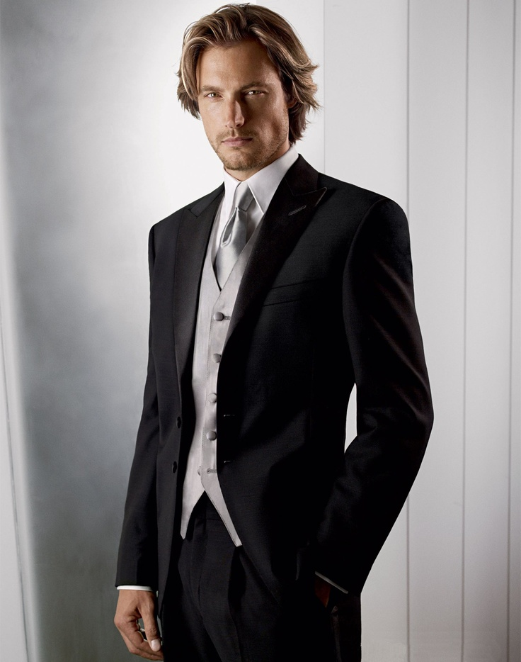 Calvin Klein suit modeled here by Gabriel Aubry: Calvin Klein, Groomsmen Tux, Black And Red Tuxedos, Grooms Suits, Grooms Tuxedos, Men Suits, Wedding Tuxedos, Gabriel Aubry, Black Tux Silver Ties