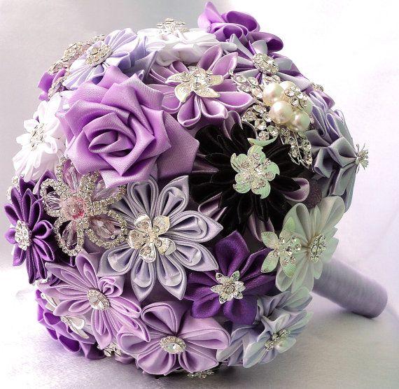 Fabric Wedding Bouquet brooch bouquet Lilac Charm by LIKKO on Etsy, $75.00
