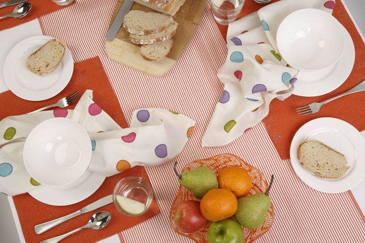 Custom made table cloth, placemats and napkins using fun fabrics from Harvey Furnishings