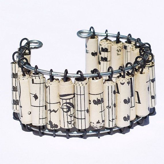 like this idea: Upcycled Sheet, Music Paper, Paper Bracelets, Music Bracelets, Sheet Music Crafts, Beads Jewelry, Music Sheet, Paper Beads, Vintage Sheet