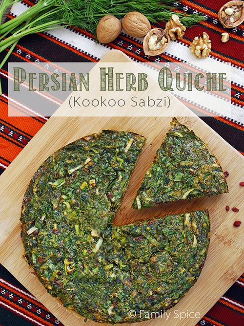 Kookoo Sabzi (Persian Herb Quiche) sub potatoes and soaked golden flax and egg preplacer.