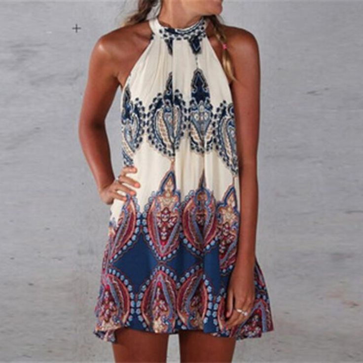 2017 New Sexy Summer Dress Boho Women Dress Printed Halter Style Sleeveless Beach Party Mini Dresses Plus Size Vestidos Beige