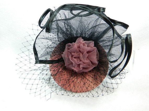 Fascinator dark pink mauve black Ladies Hat Cocktail by Nashimiron