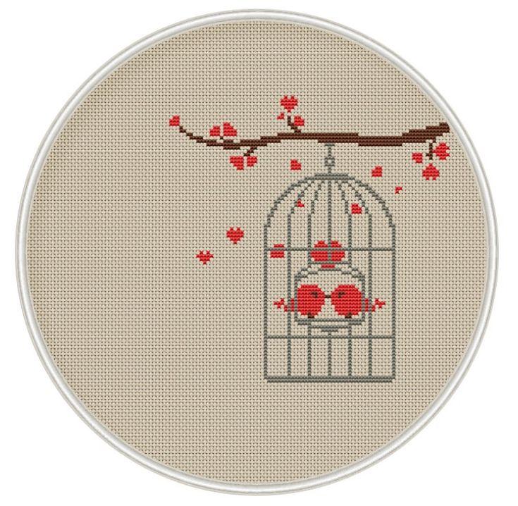 Pájaro en jaula de punto de cruz patrón por MagicCrossStitch