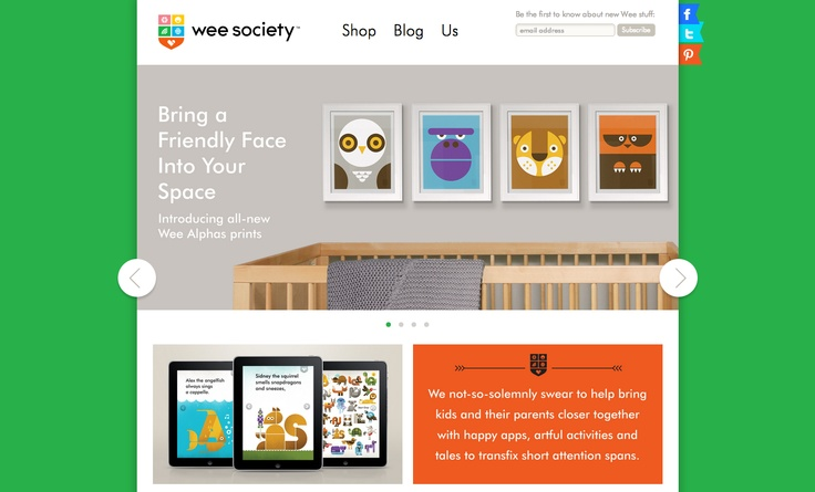 Wee Society - colorful children friendly design and a great inspiration for ecommerce website
