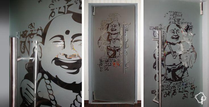 """Ganzglastür Pendeltür aus ESG mit #Buddha Motiv / Sandstrahlung / Feinmattierung www.frontglas.de #Glas #Glass"""""""