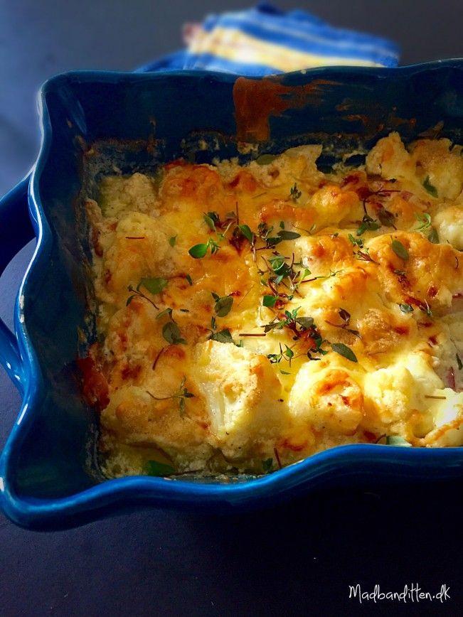 Blomkål i fad med ost og bacon --> Madbanditten.dk