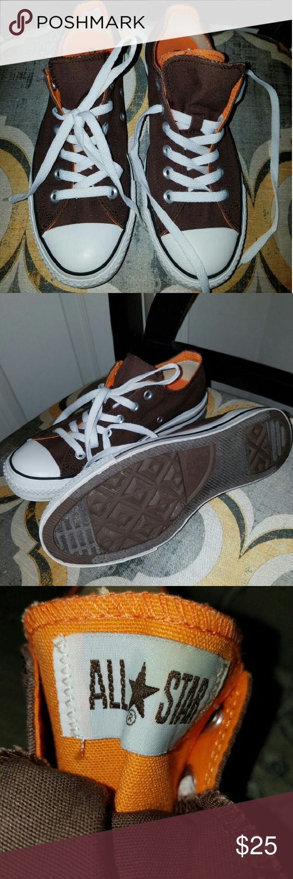 Brown Converse with Orange lining GUC Brown and Orange Converse. Smoke and pet free home Converse Shoes Sneakers