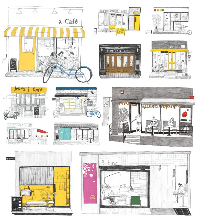 "drawings from ""12 Fascinating Cafes Around Hongdae,"" ill. by Hur Kyung Mi. http://www.typographyseoul.com/30337#"