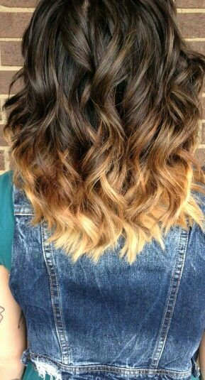 Ombre Hair Brown To Caramel To Blonde Medium Length Best 25+ Medium...