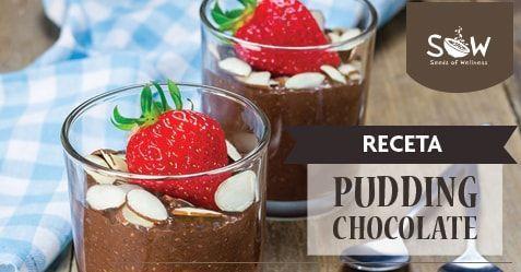 Pudding de chocolate con semillas de chía y crema batida de coco:  ¿Un postre romántico y saludable?  Si quieres sorprender con algo rico y saludable el pudding de chía se convierte en una increíble opción, ya que es fácil de preparar y posee un alto contenido en fibra. ¡Un placer sin culpa!