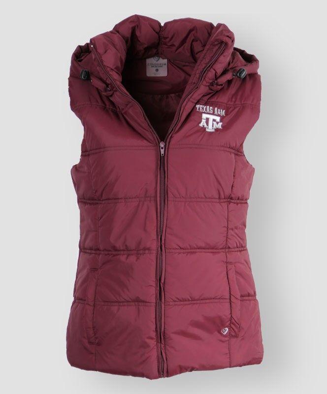 Maroon Texas A&M Puffer Vest. #AggieGifts #AggieStyle