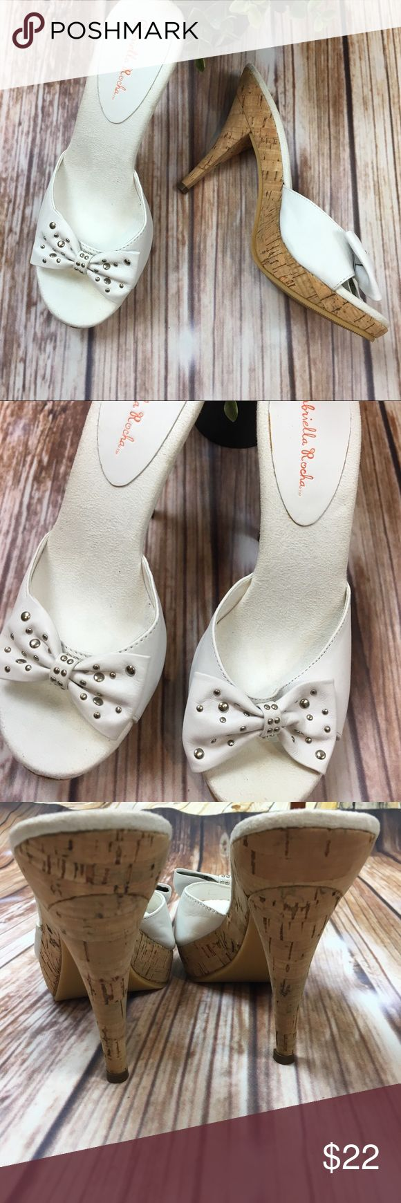 Gabriella Rocha White Studded Bow Heels New 8 These are the perfect heels to go with your spring and summer outfits. They have never been worn. Gabriella Rocha Shoes Sandals