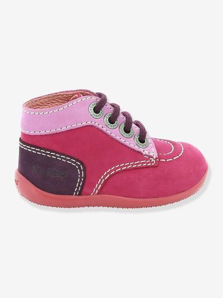 Bottines bébé fille spécial 1ers pas Bonbon KICKERS® tricolore - Fuchsia+Gris+Violet - 60€