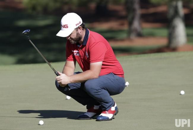Andy Sullivan of England lines up a putt while playing a practice round on Tuesday at the 2017 Masters Tournament at Augusta National Golf…