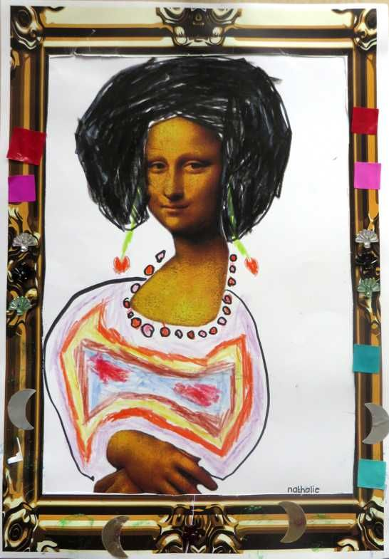 Mona Lisa, thema kunst voor kleuters, kleuteridee.nl , Art theme preschool.Met gratis download van template en lijst.