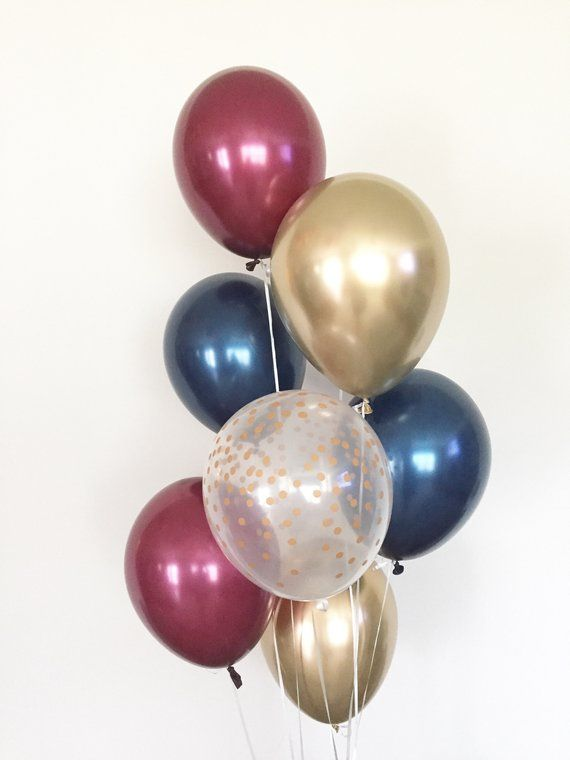 Navy And Burgundy Balloons Navy Balloon Bouquet Gold Etsy In 2020 Gold Birthday Party Gold Confetti Balloons Confetti Balloons