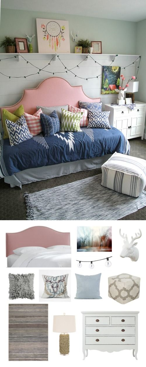 A fun and funky teen girls room. To see this same look but for a different price, visit our blog: http://www.nousdecor.com/blog/real-deal-steal-a-teen-dream-worthy-bedroom