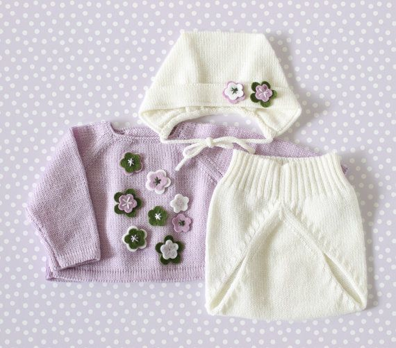 Knit baby set. Sweater diaper cover cap. Lilac off by tenderblue