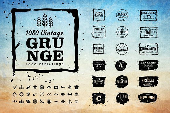 Vintage Logo and Grunge Logo by LogoLabs on @creativemarket