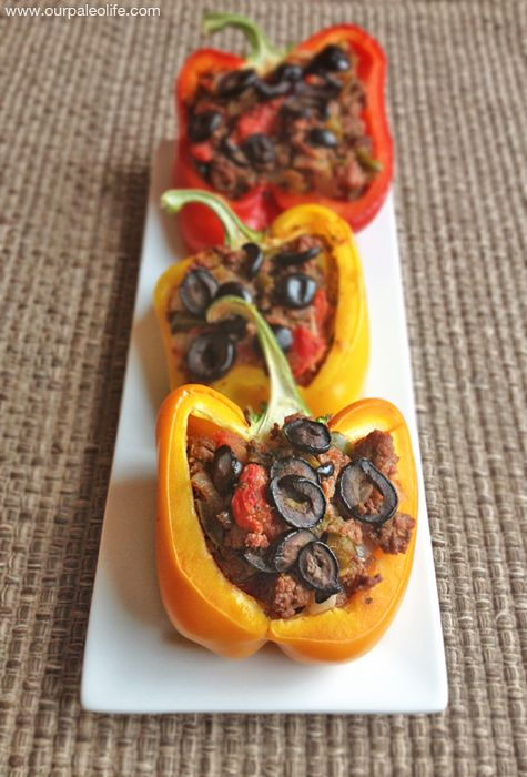 Would substitute the beef for some family farm turkey (or even some black beans or quinoa to make it vegetarian) Paleo Stuffed Peppers | Our Paleo Life