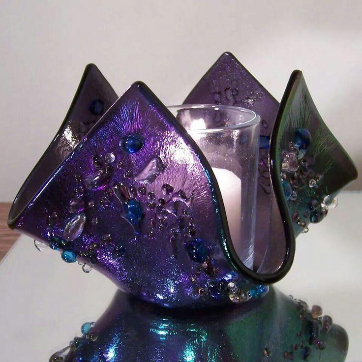 Svícen * zdobené sklo