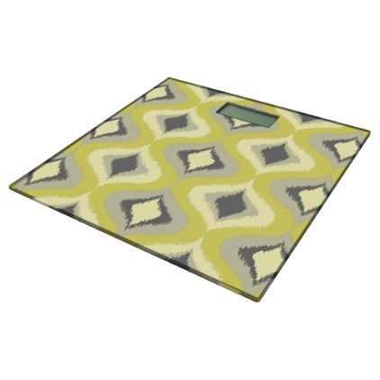 Gray Yellow Green Ochre Retro Ikat Drops Pattern Bathroom Scale - stylish gifts unique cool diy customize