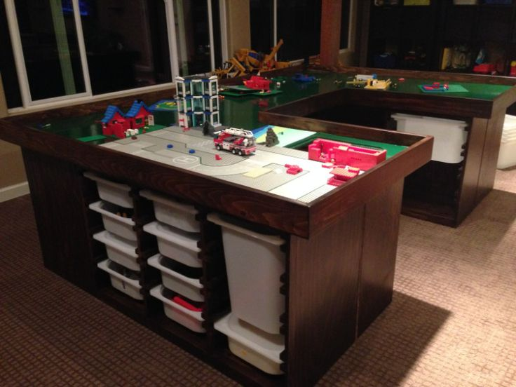 Large Lego Table With Easy Clean Up Bins Library