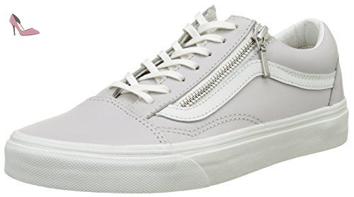 Vans Ua Old Skool Zip, Baskets Basses Femme, Gris (Leather Wind Chime/Blanc de Blanc), 38 EU - Chaussures vans (*Partner-Link)