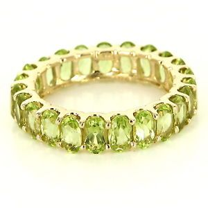 Estate 14 Karat Yellow Gold Peridot Eternity Stack Band Ring Fine Jewelry Sz 7 $595