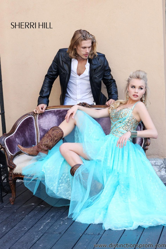 cowboy boots and blue prom dress by sherri hill
