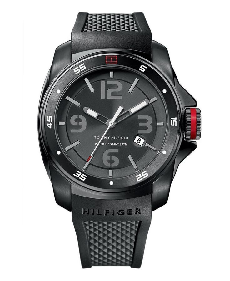 Tommy Hilfiger Watch, Men's Black Silicone Strap 1790708