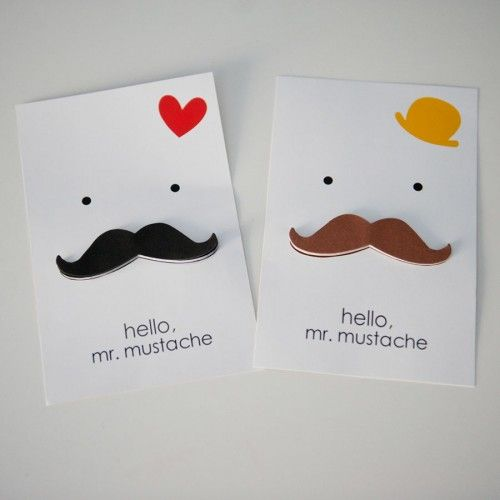 Stickers with the moustache - you can decorate with them the greetings card for your Dad!