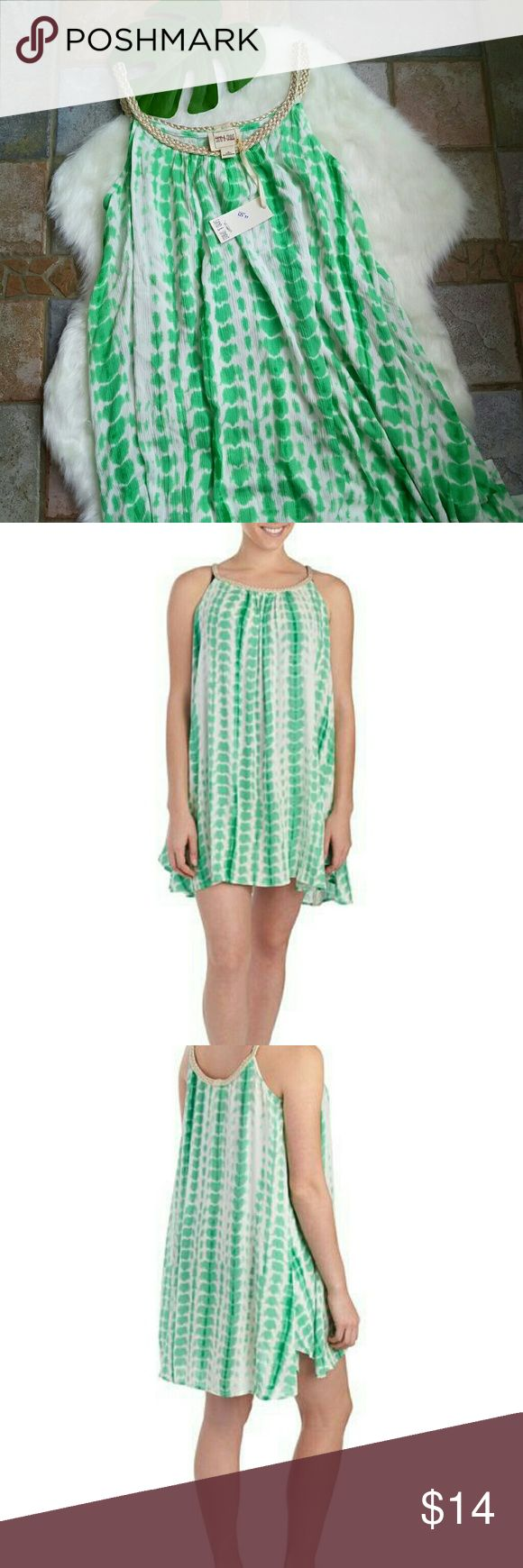 NWT tie dye 100% rayon beach cover up dress. Cute green dress with silver breaded straps size M. New condition. Can also be used as a maternity dress. Dresses Mini