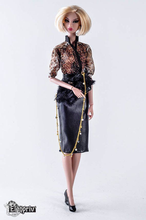 ELENPRIV black silk pencil skirt w//full lining for Fashion Royalty FR2 dolls