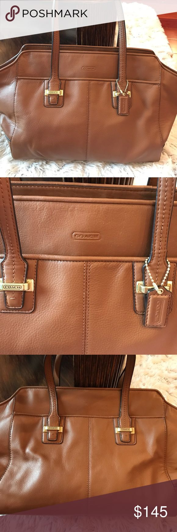 Beautiful Coach Leather Bag Perfect condition Coach Leather bag that is camel color with gold hardware. The leather is super soft and has four gold feet on the bottom of the bag to keep it from scratching. Bag has two outside pockets and opens up wide. Coach Bags