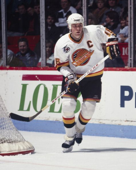 Trevor Linden of the Vancouver Canucks skates against the Montreal Canadiens Circa 1990 at the Montreal Forum in Montreal Quebec Canada