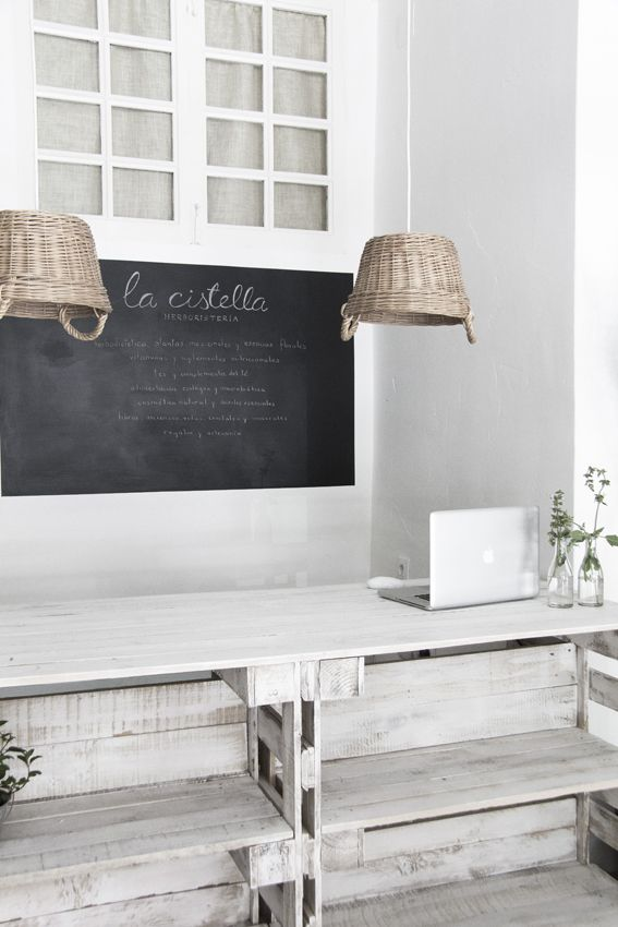 Ideas for shop counter- chalkboard background, repurposed pendant lights, distressed cash wrap