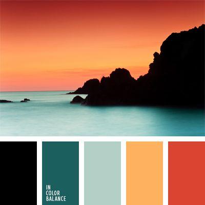 celeste y naranja, color puesta del sol, color puesta del sol en el mar, color turquesa, colores para la decoración, colores vivos para un baño, coral, matices fríos y cálidos, paletas de colores para decoración, paletas para un diseñador, turquesa y coral.