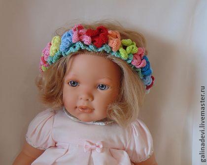 """Повязка на голову для девочки вязаная """"Гавайские цветы"""" - цветочный,для девочки"""