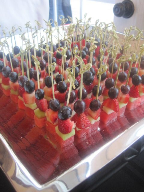 Standing fruit skewers-blueberries, kiwi, strawberries, pineapple? grapes?