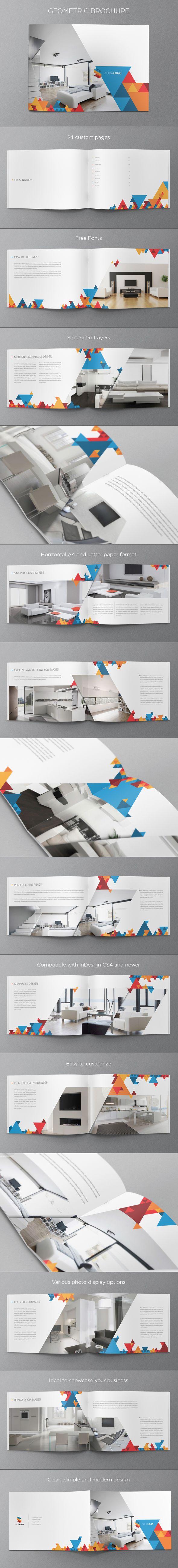 Modern Geometric Brochure. Download here: http://graphicriver.net/item/modern-geometric-brochure/5427360?ref=abradesign #design #brochure