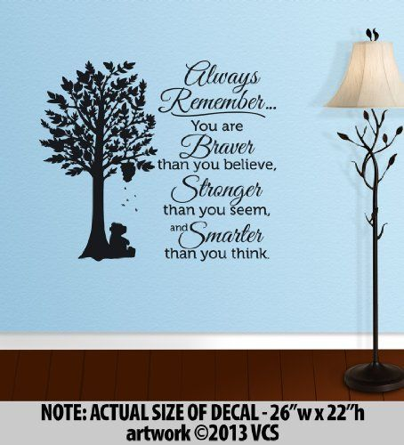Winnie The Pooh Quotes: Always Remember. You Are Braver Than You Believe,  Stronger · Wall Decor StickersQuote Wall DecalsLarge ... Part 67