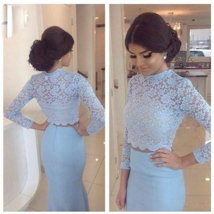 2016 Elegant Light Blue Mermaid 2 Pieces Prom Dresses High Neck with Long Sleeves Floor Length Evening Dress vestido de festa