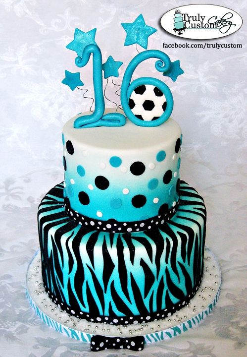 teal black zebra soccer cake; perfect for a girl's party...how cute is the ball in the 16!
