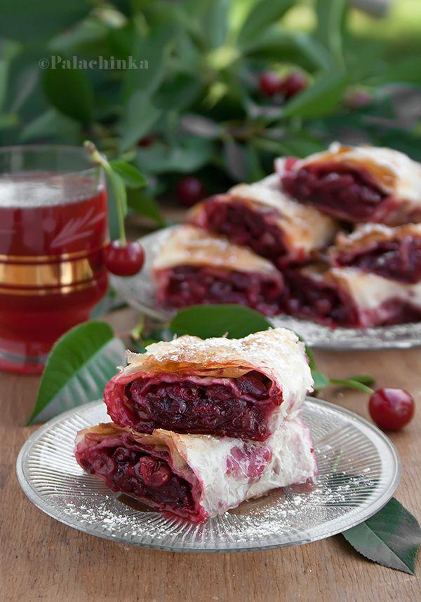 Sour Cherry Phyllo Pie on http://palachinkablog.com